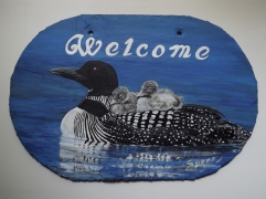 Loon Welcome Slate Sign with Chicks (C Series)